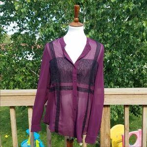 Rachel Roy Purple & Black Lace Top